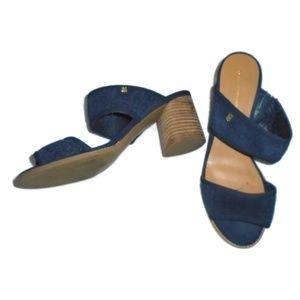 Tommy Hilfiger Blue Suede Heeled Sandals 10 EUC